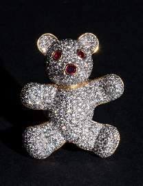 Ruby Diamond 18K Yellow Gold Bear Pin
