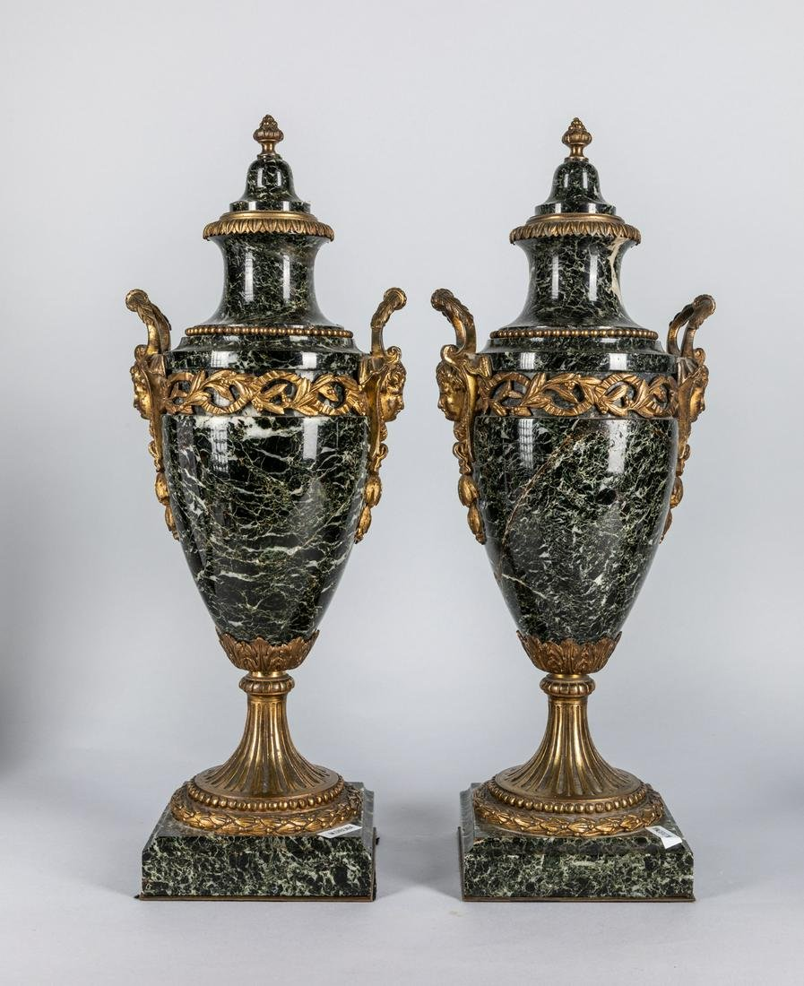 Pair Tall French Louis XVI Style Gilt Bronze Marble