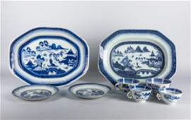 Set of 19th Chinese Antique Export Blue White Porcelain