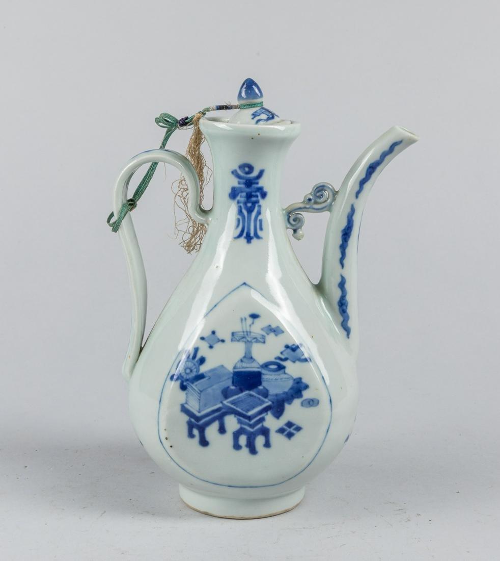 Chinese Antique Blue & White Porcelain Wine Pot