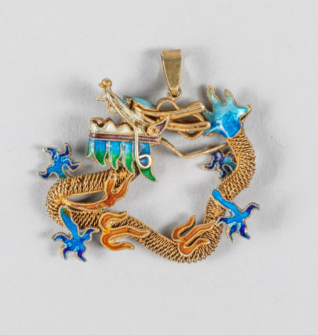 Chinese Vintage Sterling Silver Gilt Pendant