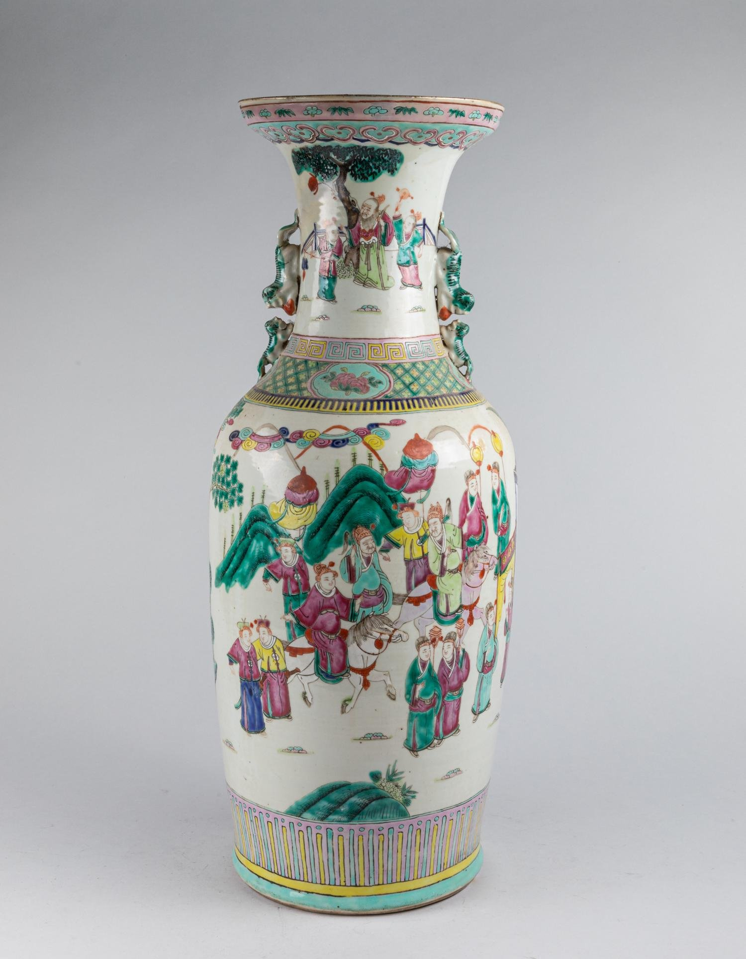 REPAIRED Large Chinese Antique Wucai Porcelain Vase
