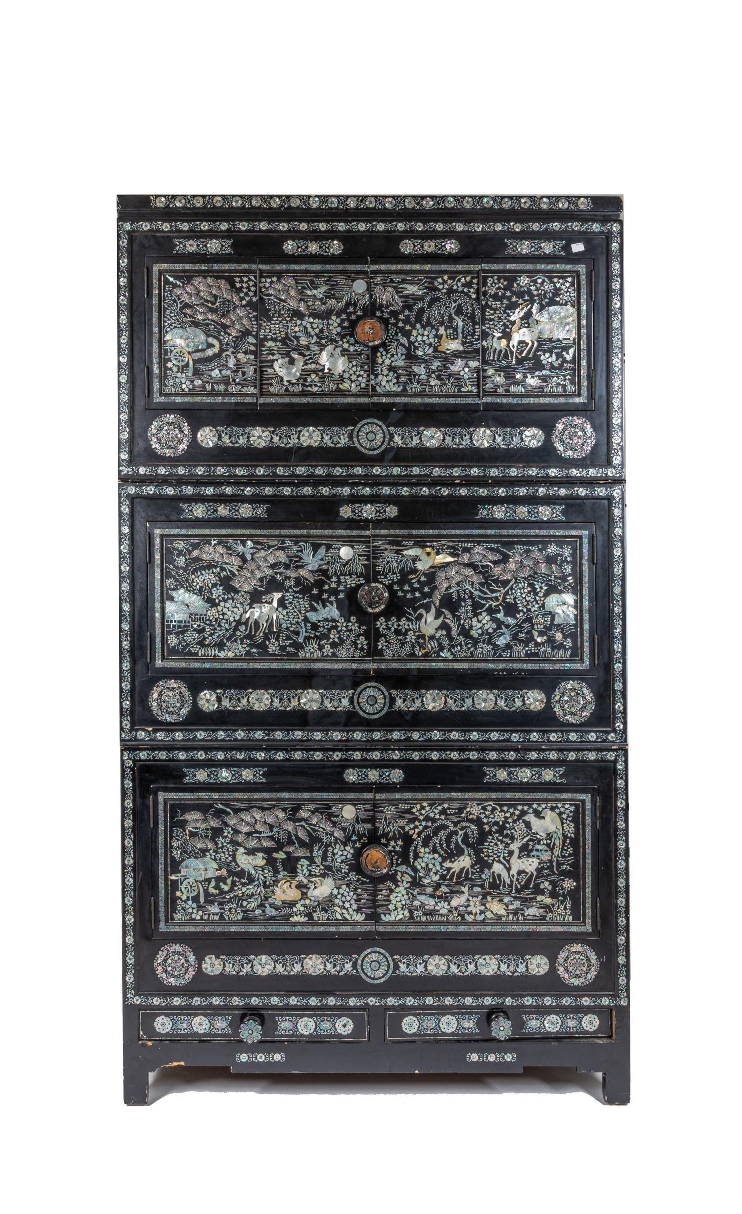 Vintage Korean Lacquer Inlaid Mother-Of-Pearl Cabinet
