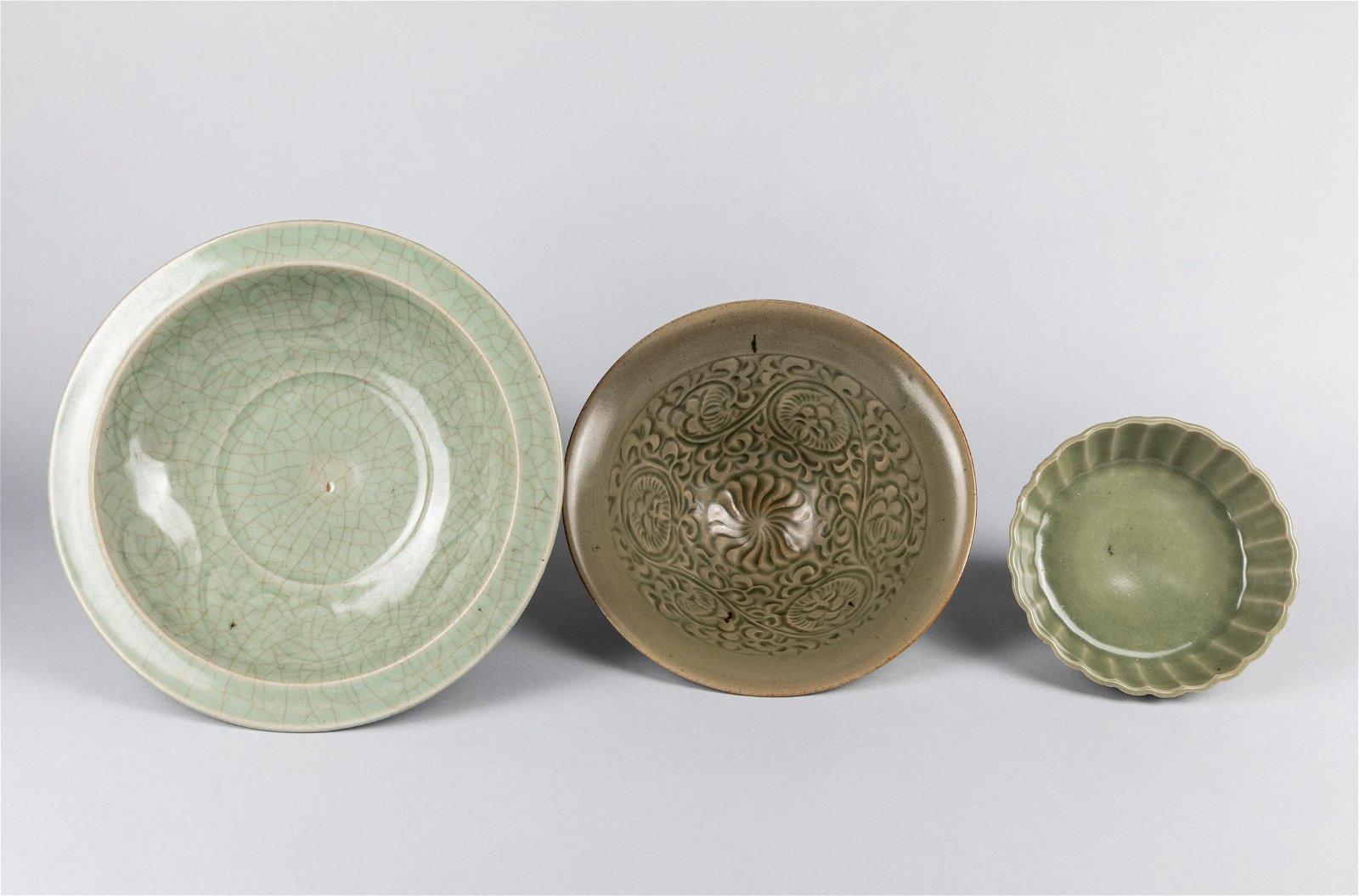 Set Of Korean Antique Celadon Glazed Porcelain