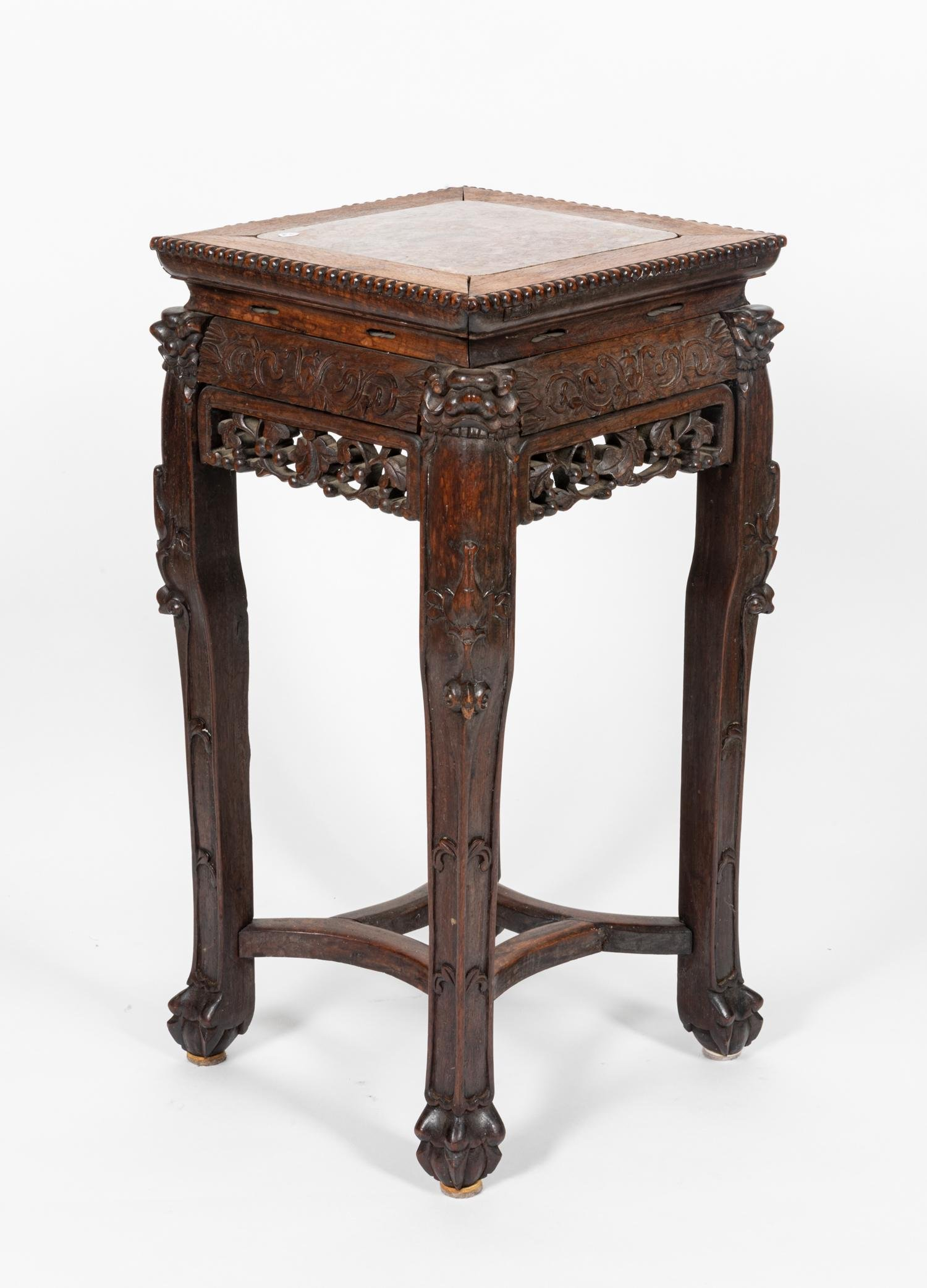 Chinese Carved Rosewood Tall Table With Marble Top