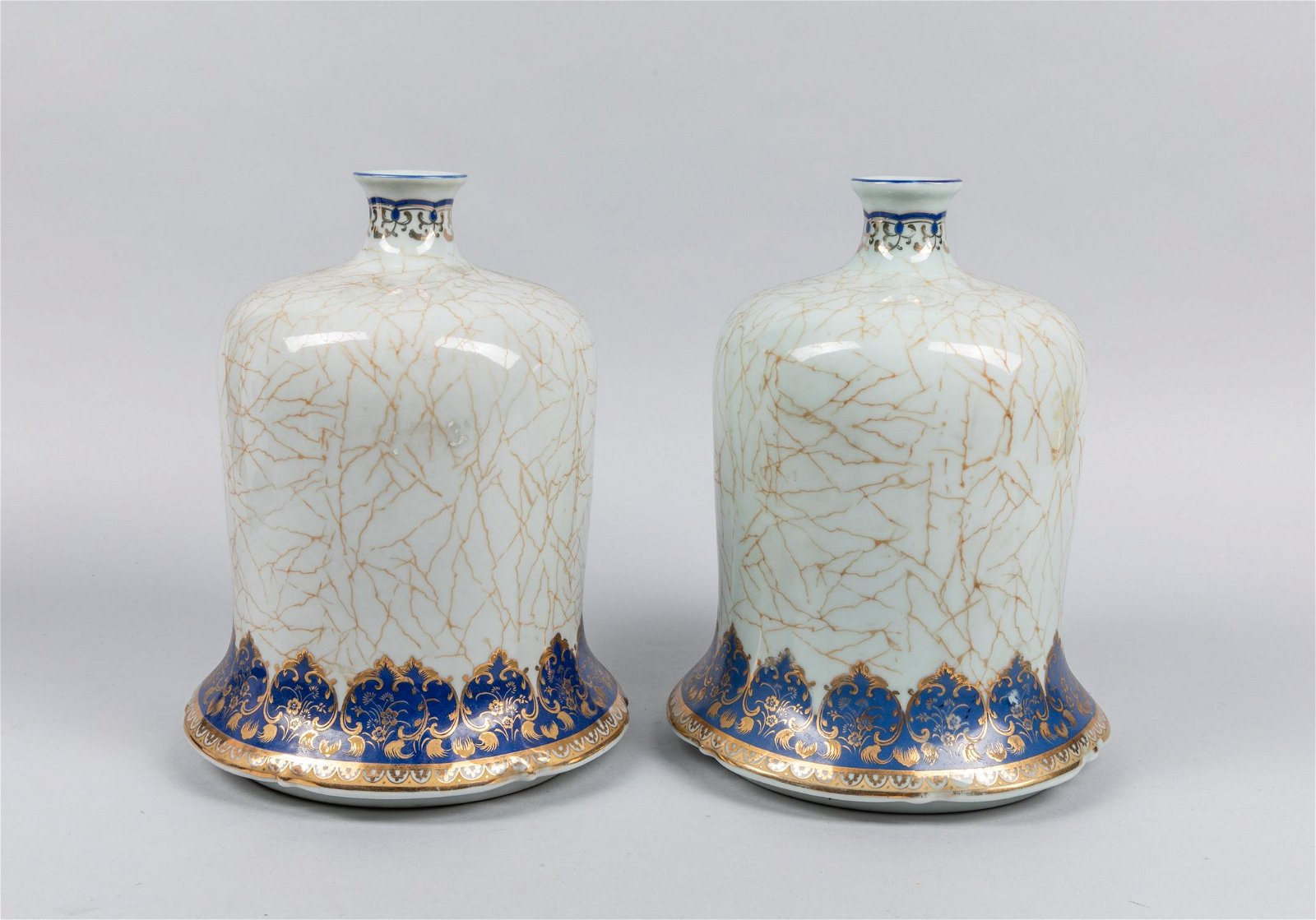 Pair Of Chinese Export Enameled Gilt Porcelain Pots