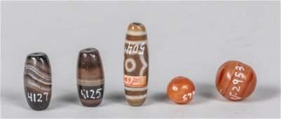 Set Of Tibetan Old Agate Beads