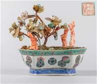 Chinese Antique Coral Like & Gem Stone Bonsai