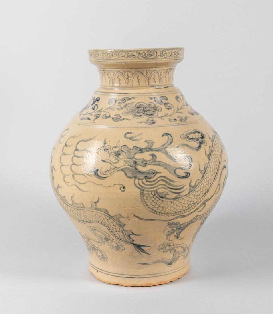 Tall Antique Vietnamese Hoi An Porcelain Dragon Vase