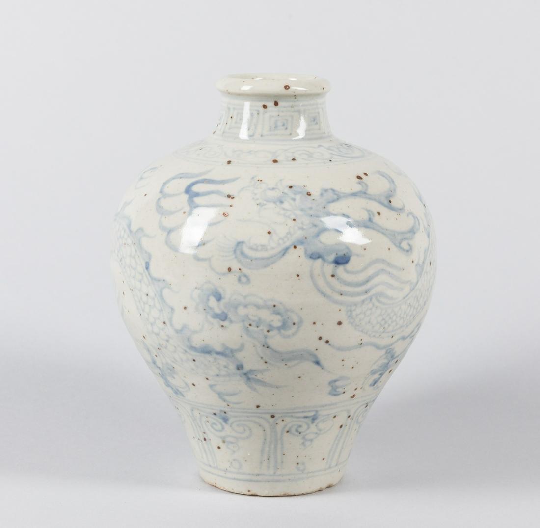 Antique Vietnamese Hoi An Blue & White Porcelain Vase