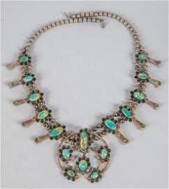 Collectible Vintage Squash Blossom Silver Necklace