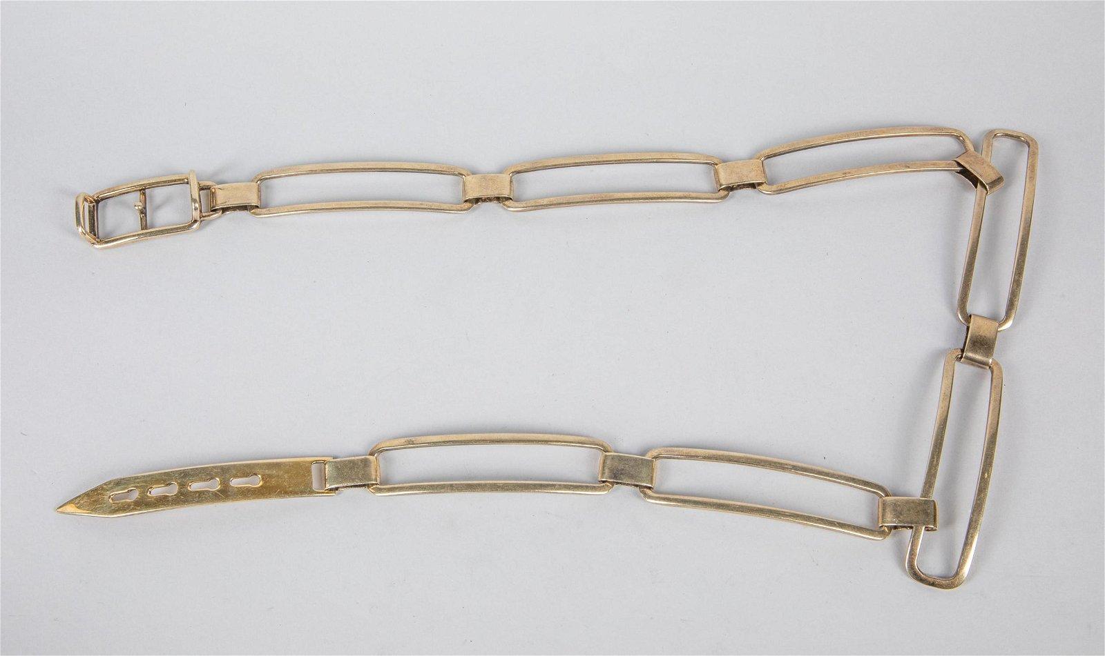 Vintage 1970s Large Sterling Silver Designer Belt