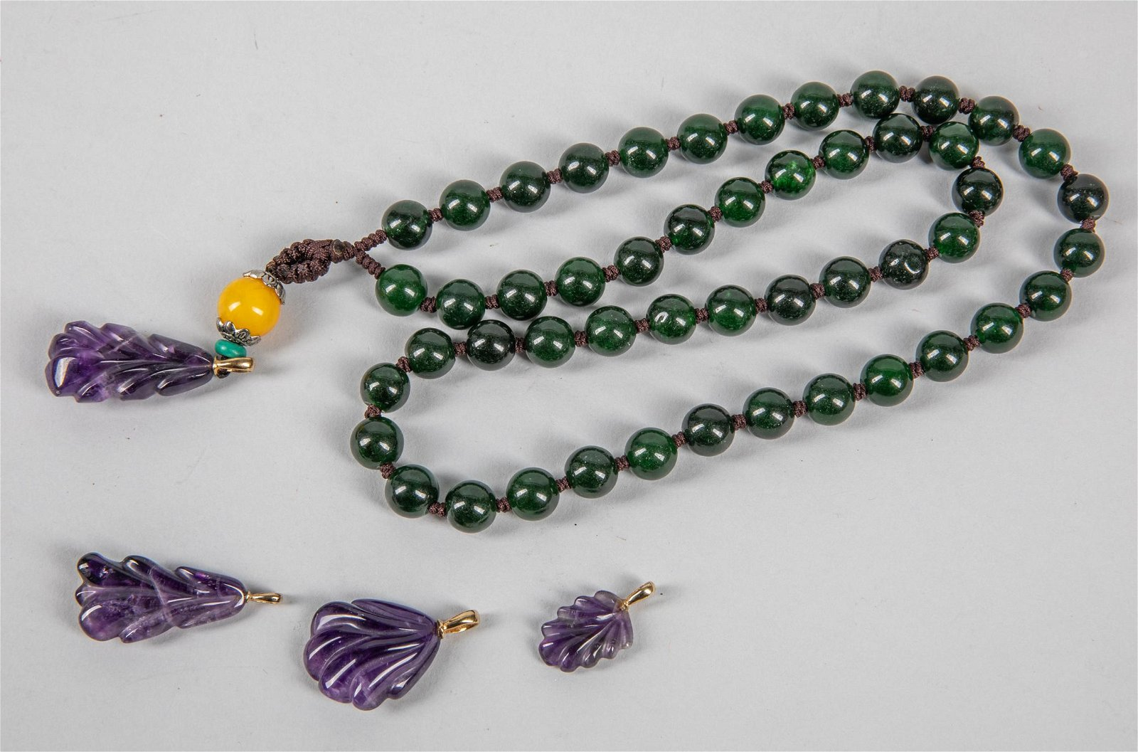 Chinese Export Jade & Amethyst Necklace