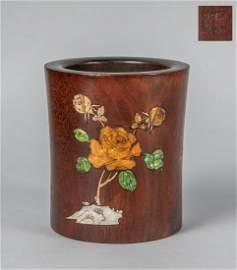 Chinese Wood Brush Pot Inlaid Pearl