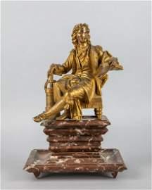France Antique Gilt Bronze Figure on Marble Stands