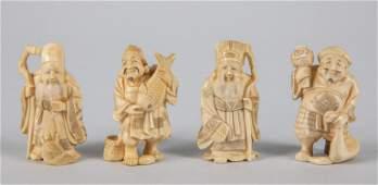 Group of Japanese Taisho Carved Bone Netsuke