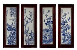 Set Chinese Blue & White Porcelain Wall Hanging Plaque