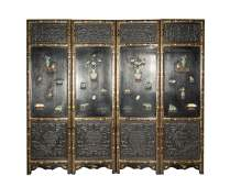 Chinese Jade Stone Mounted Four-panel Lacquer-wood