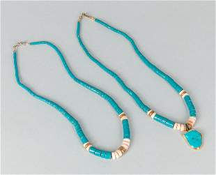 Set of Vintage  Turquoise Color & Shell Beads Necklaces