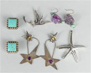 Set Sterling Silver & Turquoise Gem Stone Jewelries
