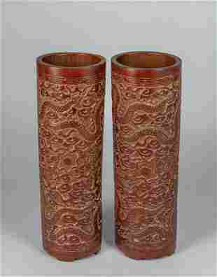 Pair Chinese Old Carved Bamboo Dragon Pot