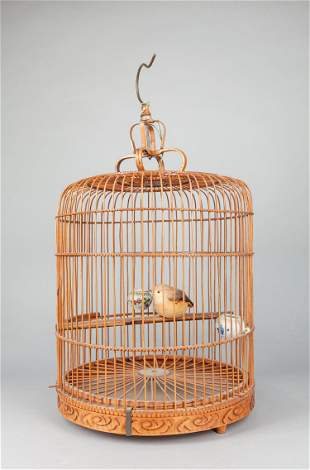 Chinese Vintage Bamboo Bird Cage