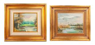 Set of Signed Oil Painting  with Gilt Frames