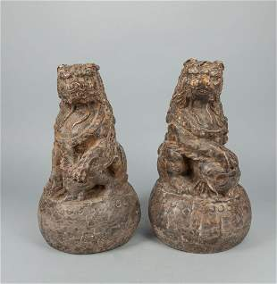 Pairs Chinese Stone Carving of Beast
