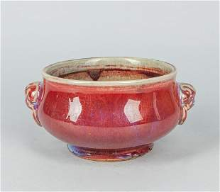 Large Chinese Old Flamble Glazed Porcelain Censer