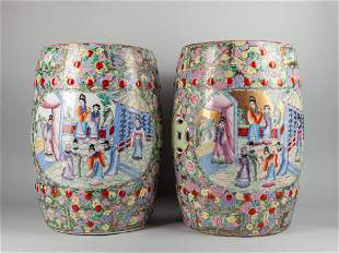 Chinese Export Famille Rose Porcelain Garden Seats