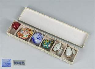 Set Chinese Porcelain, Glass & Cloisonne Snuff Bottles