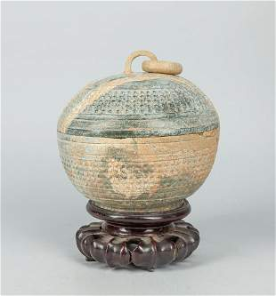 Large Chinese Jade Stone Carving of Covered Box