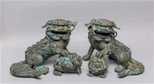 Pairs Lg Meiji period Japanese Iron Foo Dogs