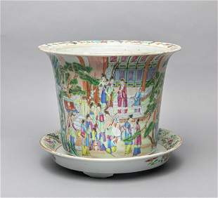 Chinese Antique Famille Rose Porcelain Plant Pot