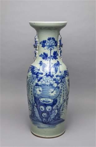 Tall Chinese Antique Blue White Porcelain vase