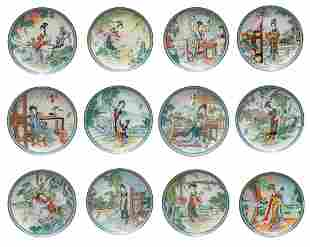 Set Chinese Export Famille Rose Porcelain Plates