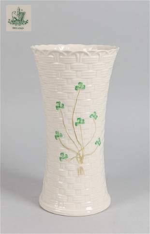 Collectible Ireland Belleek Irish Shamrock Basket Vase