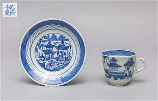 Chinese Export BlueWhite Porcelain Cup Plate