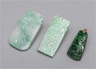 Group Chinese Jade Jadeite Stone Carving, 14k Link
