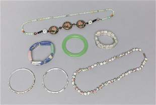 Set Chinese Export Jade Stone, Cloisonne Jewelries