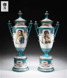 Pairs of Antique Napoleon Josephine Urns