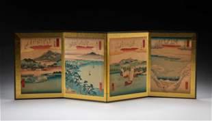 Japanese Ando Hiroshige Woodblock Print Table Screen
