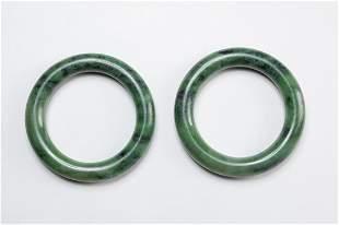 Pairs Chinese Large Spinach Jade Bangles