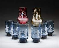 Group Vintage Mary Gregory Art Glass Sets