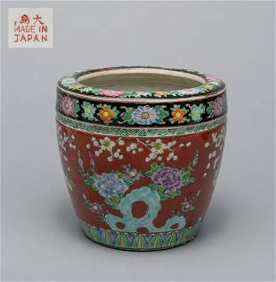 Large Japanese Old Famille Rose Porcelain Pot