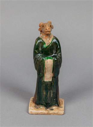 Chinese green yellow glazed pottery figure