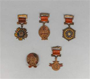 Set Chinese Russian Enameled Brass Medal