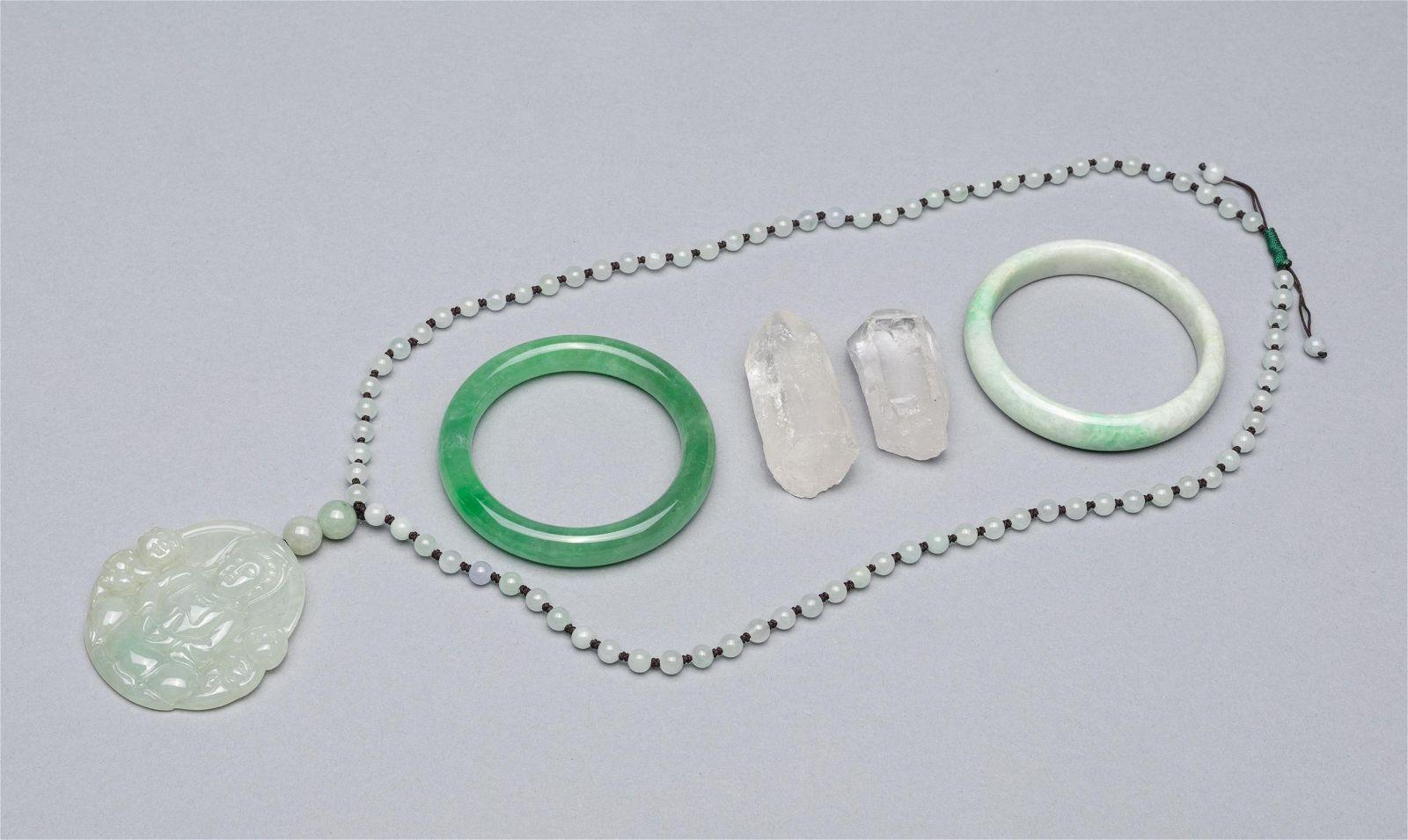 Group Chinese Jade Jadeite Stone Crystal Carvings