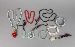 Group Estate Chinese Jade Stone Jewelries