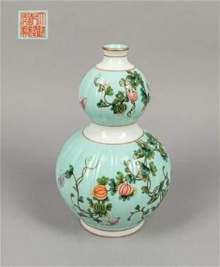 Chinese enameled porcelain gourd vase
